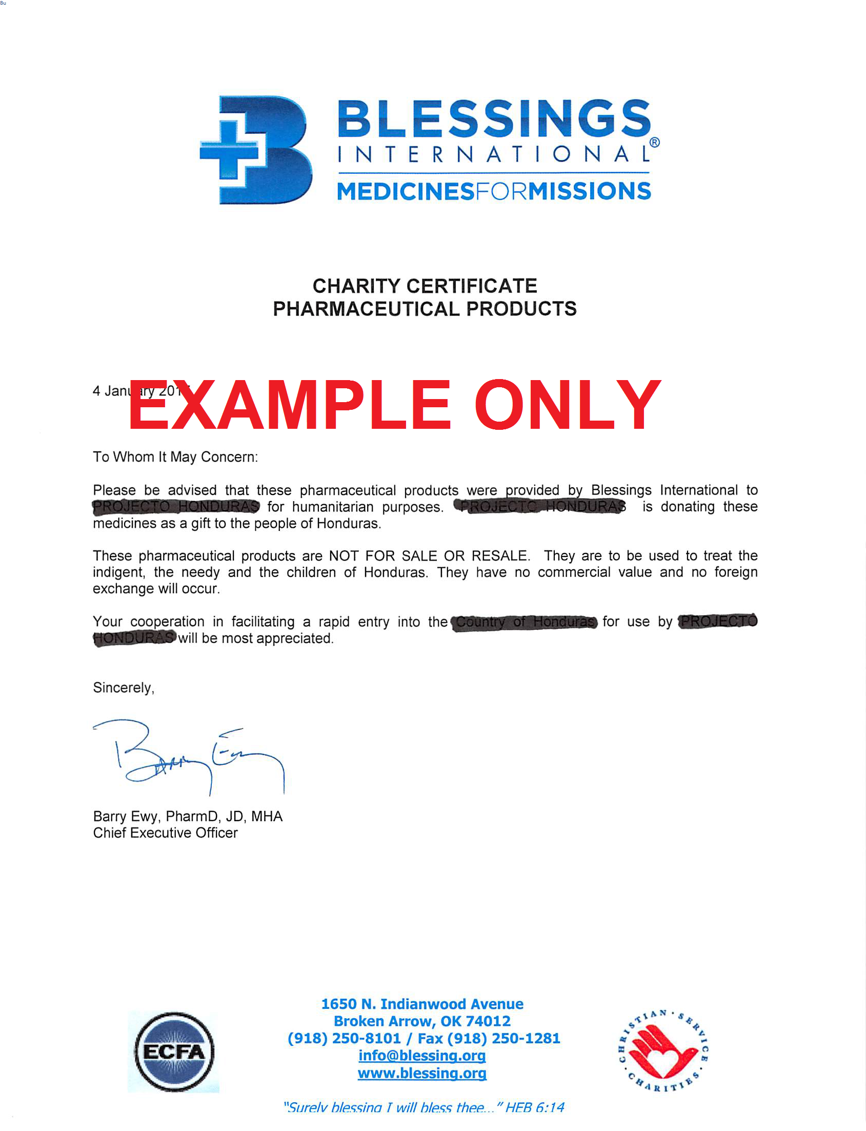 GIFT CERTIFICATE OF MEDS example